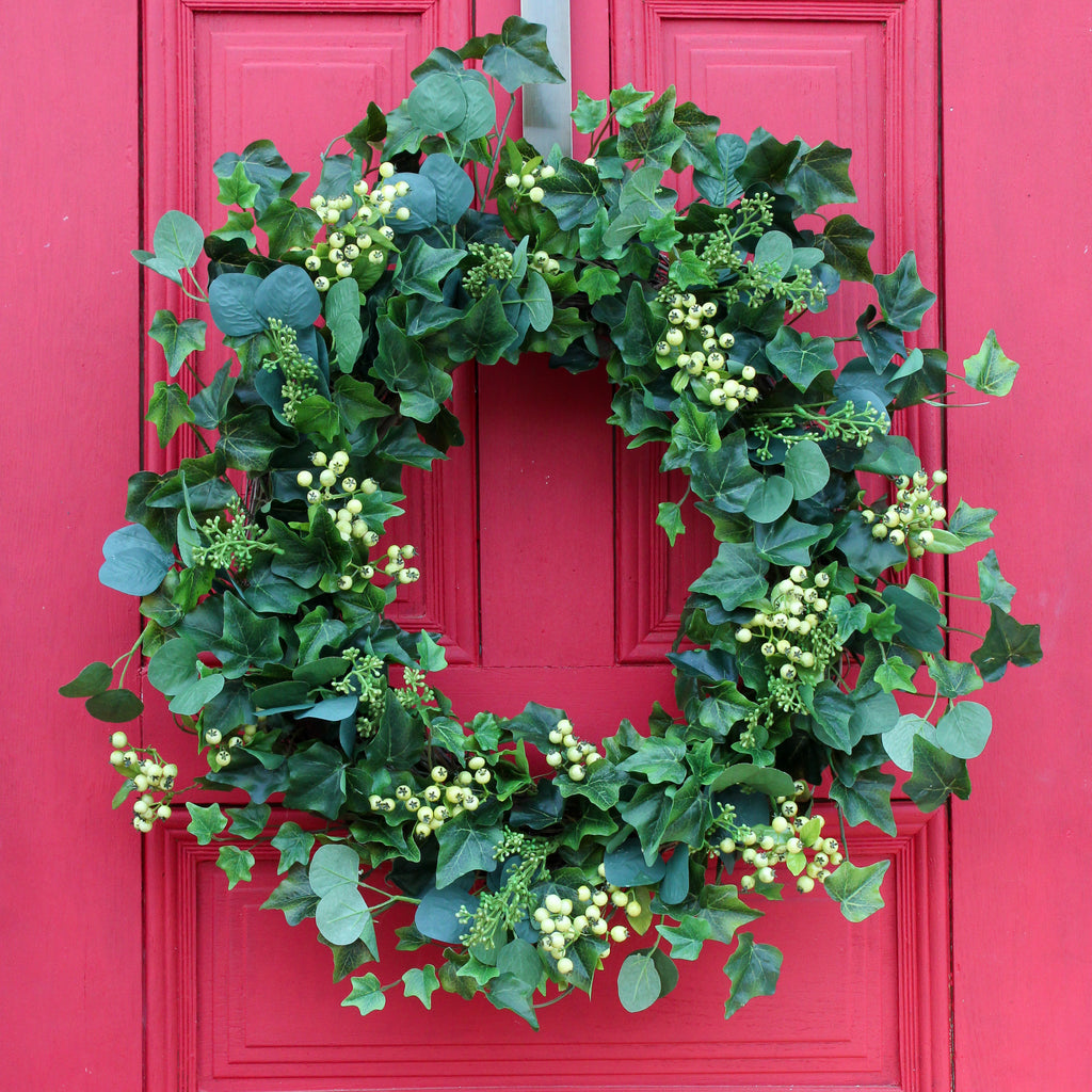 Everyday Greenery Seeded Eucalyptus, Ivy & Pepperberry All Seasons Front Door Wreath