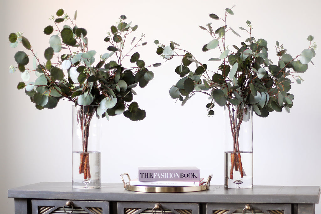 Real Touch Eucalyptus Arrangement in Large Glass Vase
