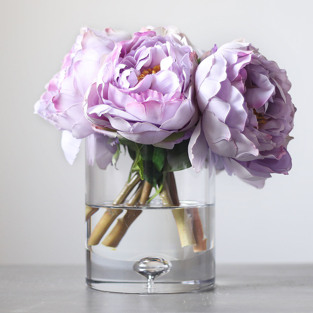 Lavender Real Touch Peony Floral Arrangement in Clear Glass Vase