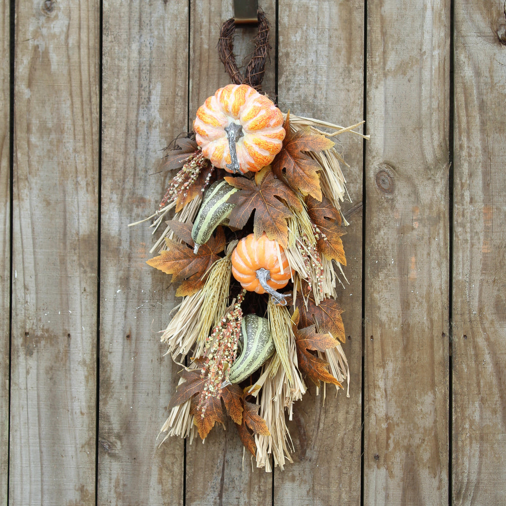 Hanging Fall Swag Wreath with Orange Pumpkin Gourds