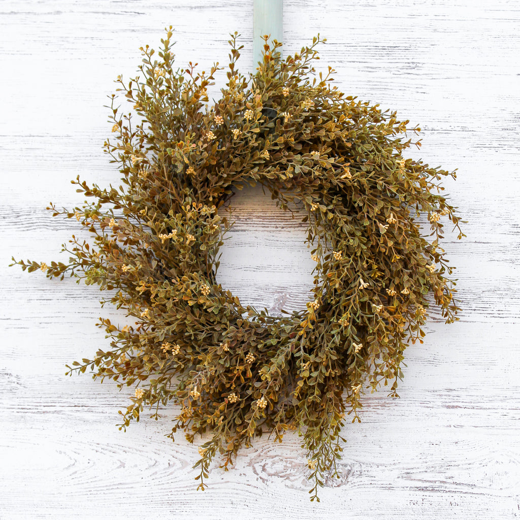 Fall Wheat Seeding Boxwood Mini Wreath or Candle Wreath Centerpiece