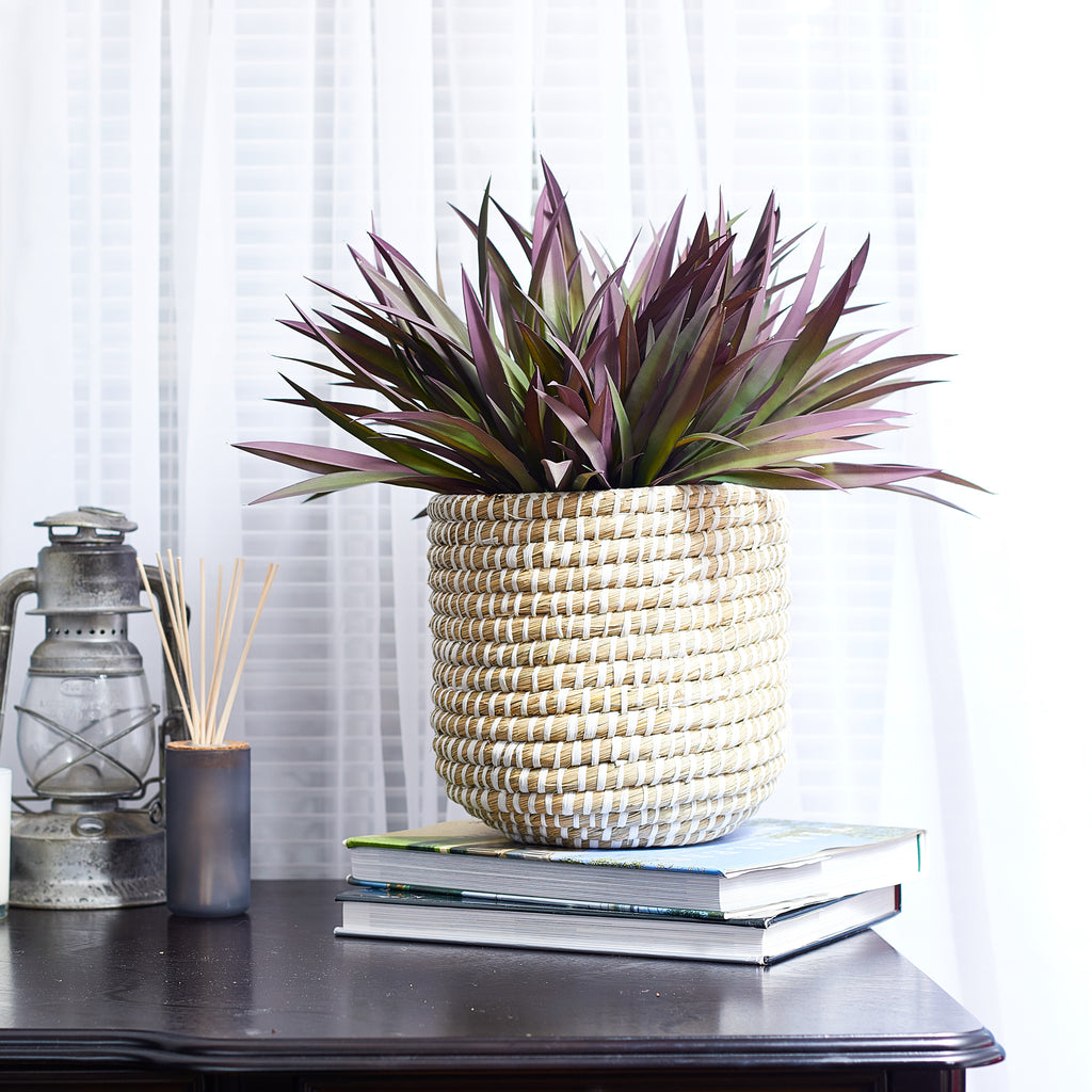 Faux Grass Houseplant in River Grass Basket - 2 Color/Size Options