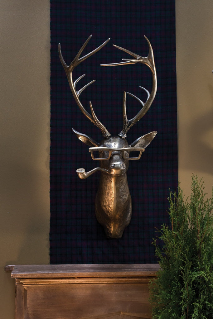 Frankie Stag Smoking Pipe Bronzed Aluminum Hanging Wall Mount Eric + Eloise Collection