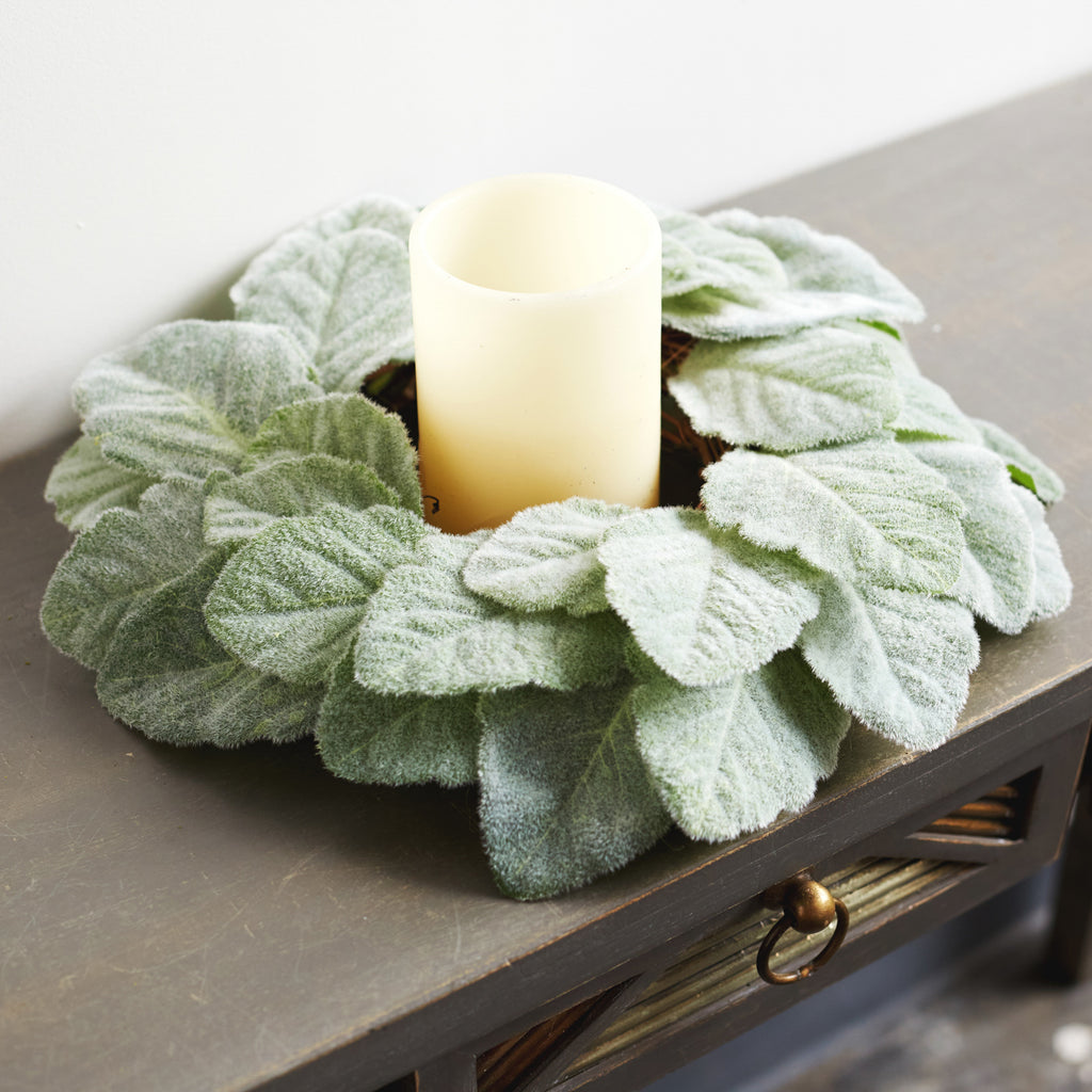 Fuzzy Lamb's Ear Mini Wreath or Candle Ring Centerpiece