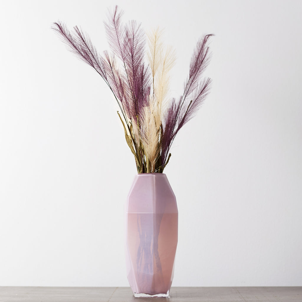 Large Geometric Pastel Pink Milk Glass Vase with Faux Pampas Grass