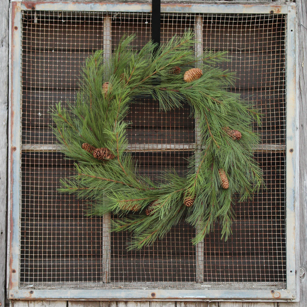 German Pine & Pinecone Front Door Christmas Holiday Wreath 24""