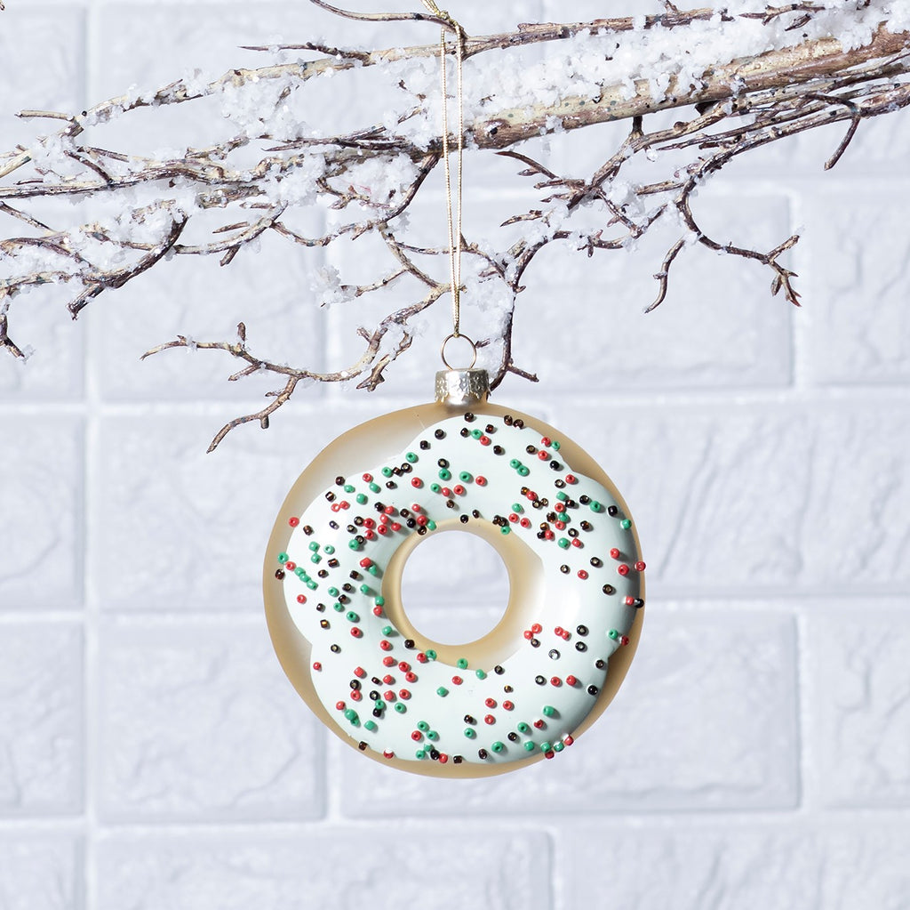 Glass Donut Whimsical Christmas Ornament - 2 Color Options