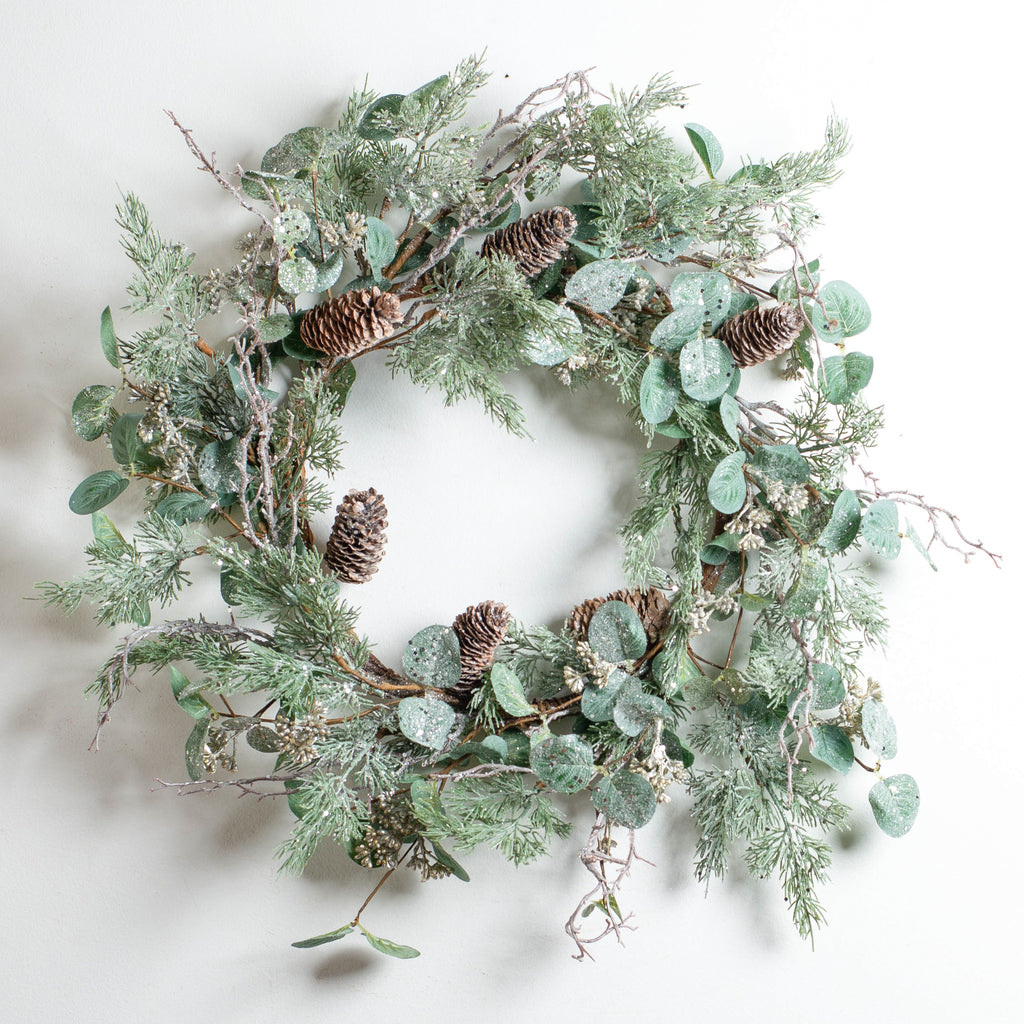 Glitter Eucalyptus, Pine & Branches Winter Front Door Storm Door Christmas Wreath