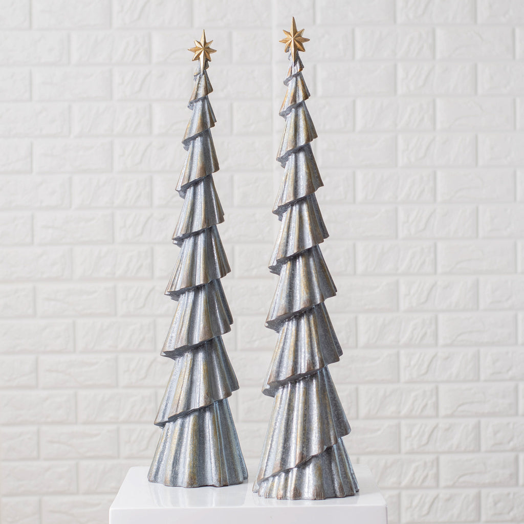 Gold and Galvanized Metal-Look Resin Christmas Tree Topiary Holiday Home Decor
