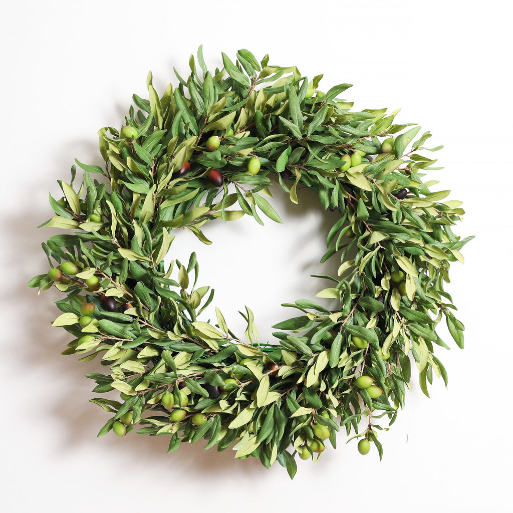 Green Real Touch Olive Leaf Branch Everyday Front Door Wreath 24""