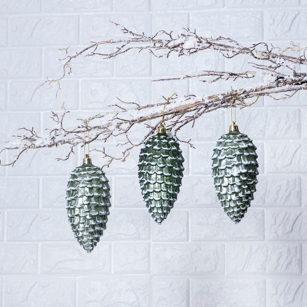 Green Snowy Pinecone Christmas Oranments- Set of 3