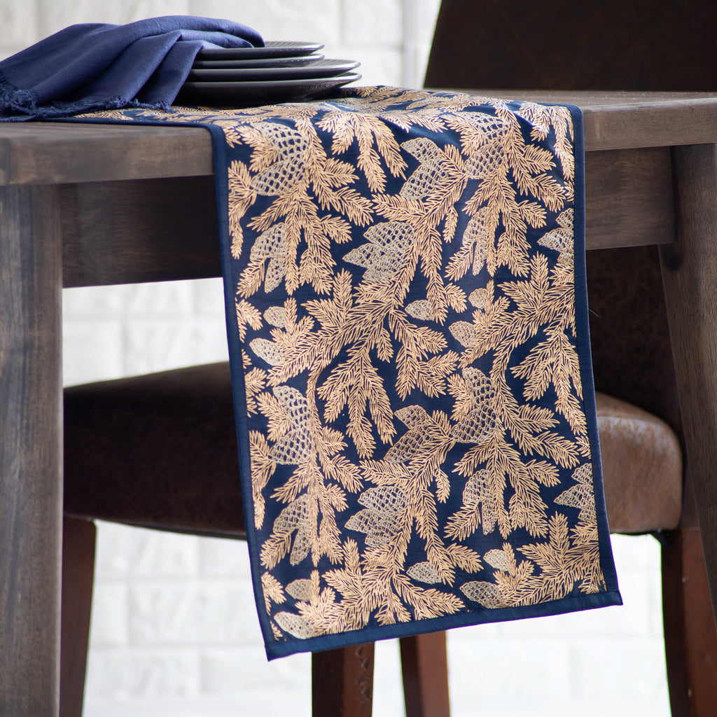 Navy Blue, Gold & Glitter Accent Pinecone Branch Christmas Holiday Table Runner