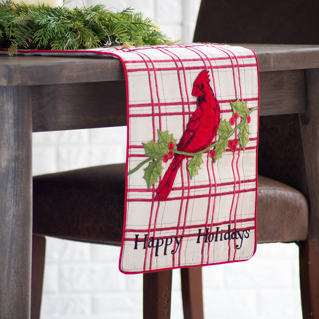 "Beige and Red Embroidered ""Happy Holidays"" Cardinal Bird Christmas Table Runner"