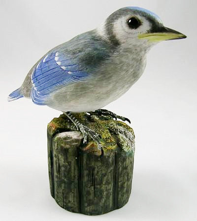 Wood Bird - Baby Blue Jay - Hand Carved Birds