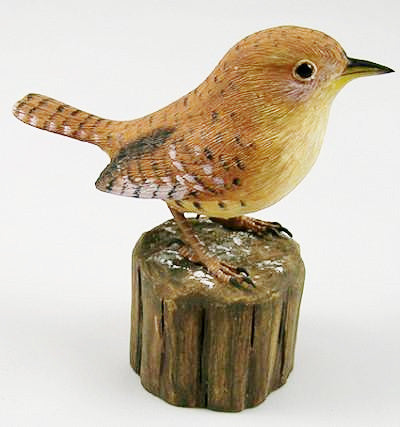 House Wren - Hand Carved Wooden Bird