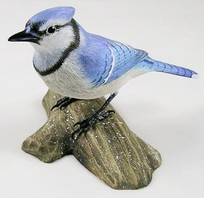 1/2 Size Blue Jay - Hand Carved Wooden Bird