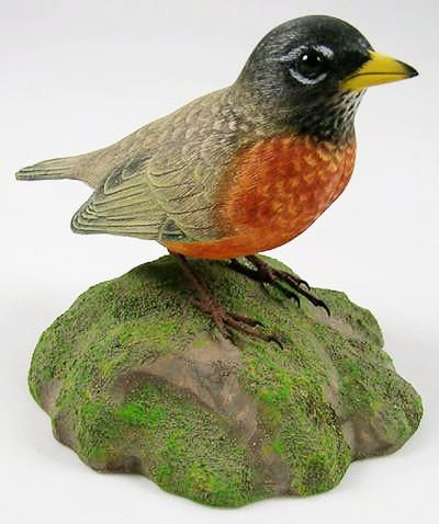 1/2 Size American Robin - Hand Carved Wooden Bird
