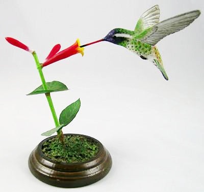 Open Mouthed White Eared Hummingbird - Hand Carved Birds