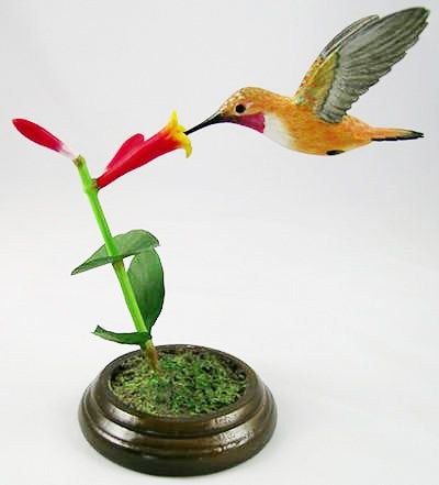 Open Mouthed Rufous Hummingbird - Hand Carved Birds