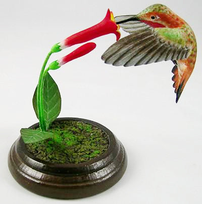 Open Mouthed Allen's Hummingbird - Hand Carved Wooden Bird