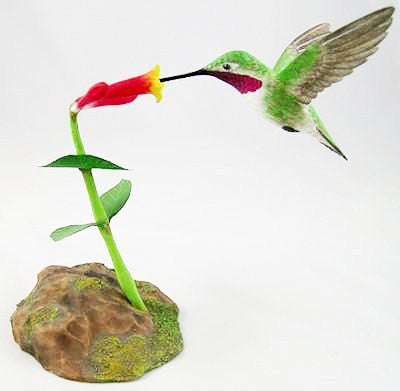Open Mouthed Broad Tailed Hummingbird - Hand Carved Wooden Bird