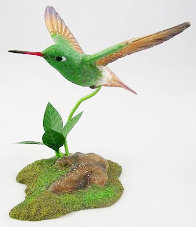 Berylline Hummingbird - Hand Carved Wooden Bird