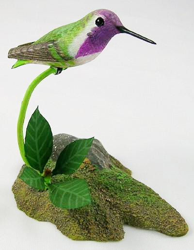 Wooden Birds - Costa's  Hummingbird - Hand Carved Birds