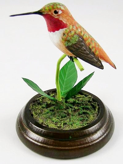 Decorative Birds - Rufous Hummingbird - Hand Carved Birds