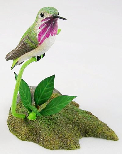 Calliope Hummingbird - Hand Carved Wooden Bird