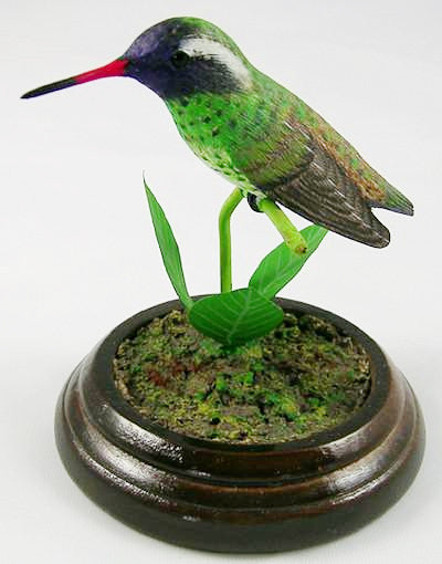 White Eared Hummingbird - Hand Carved Birds