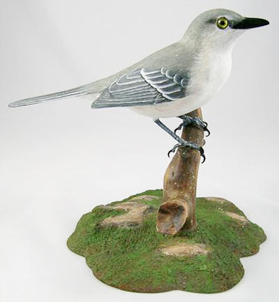 Northern Mockingbird - Hand Carved Wooden Bird