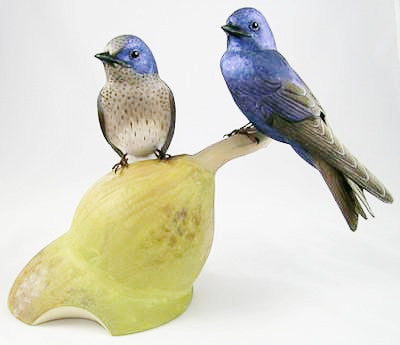 Purple Martin (2 adults) - Hand Carved Birds