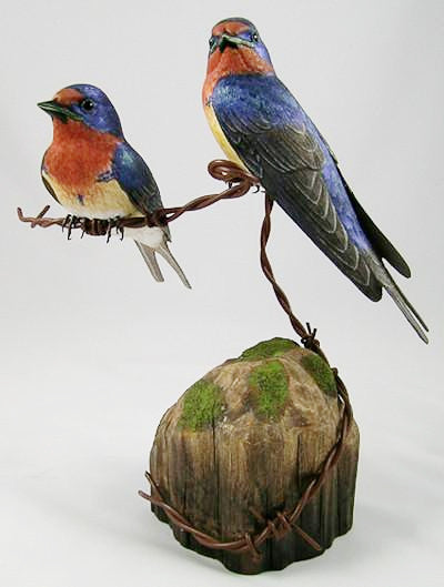 Wooden Birds - Barn Swallow (2 Adults) - Hand Carved Wooden Bird