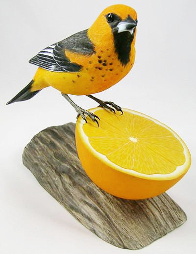 Spot-breasted Oriole - Hand Carved Wooden Bird