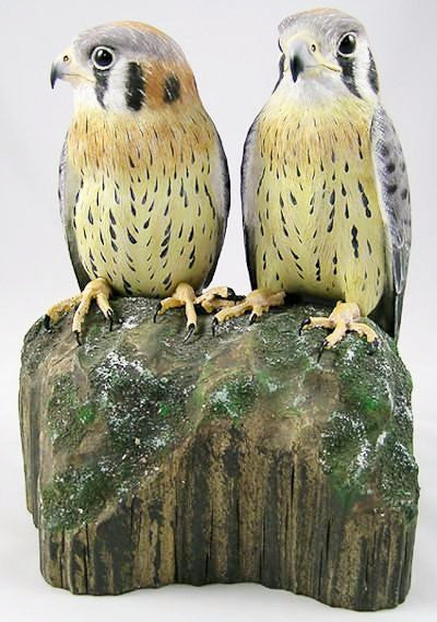 American Kestrel (2 Juvenile) - Hand Carved Birds