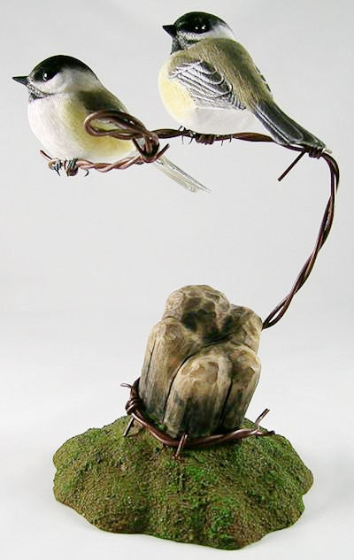 Pair of Black-capped Chickadees - Hand Carved Wooden Bird