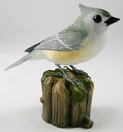 Tufted Titmouse - Hand Carved Wooden Bird