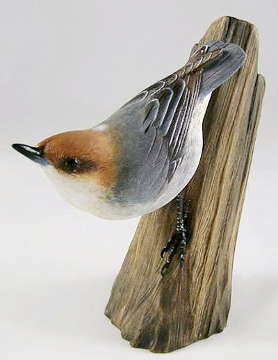 Brown-Headed Nuthatch - Hand Carved Wooden Bird