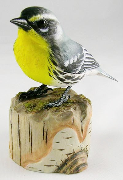 Yellow Throated Warbler - Hand Carved Wooden Bird