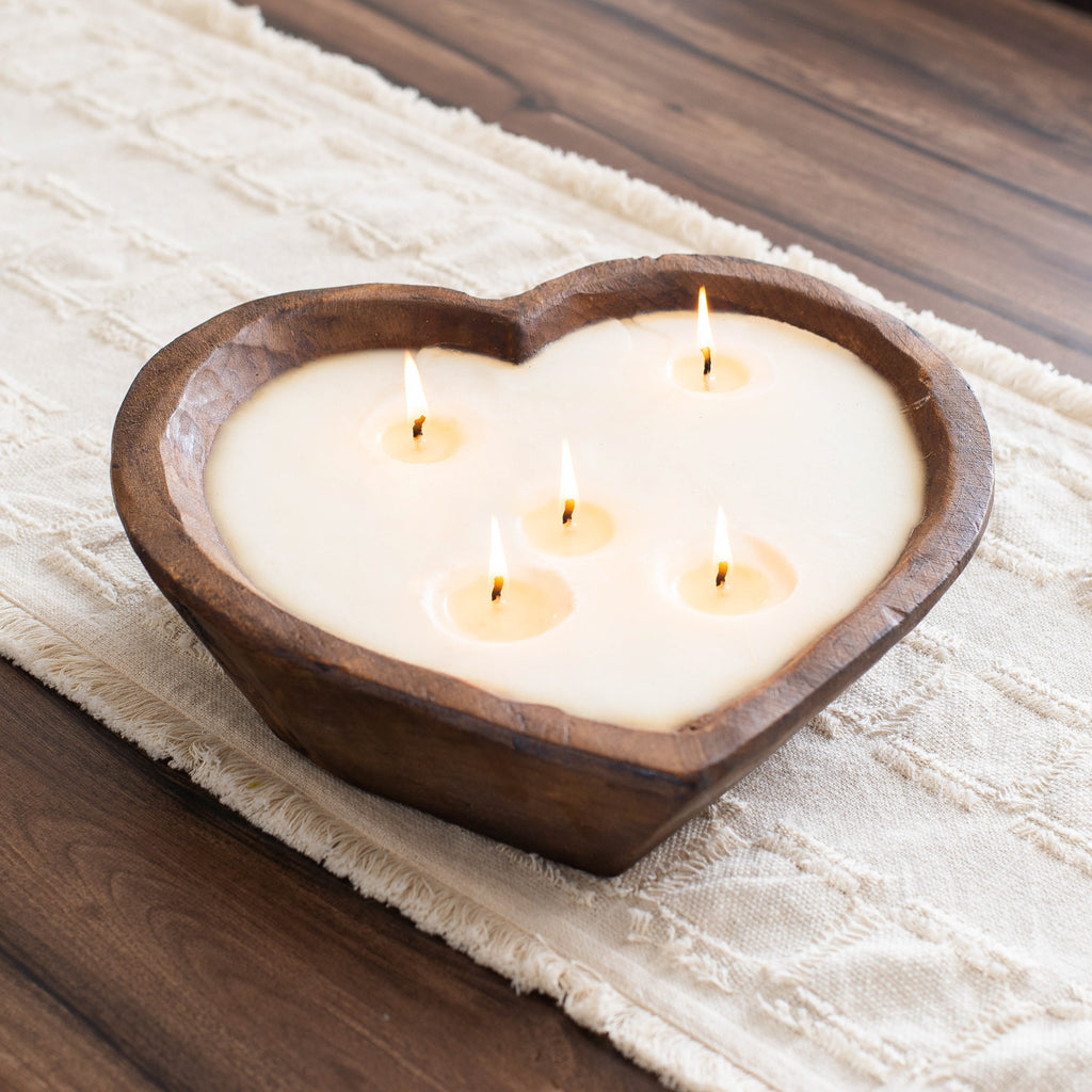 Hand Carved Spanish Oak Wooden Heart Bowl 5 Wick Soy Candle-2 Scent Options