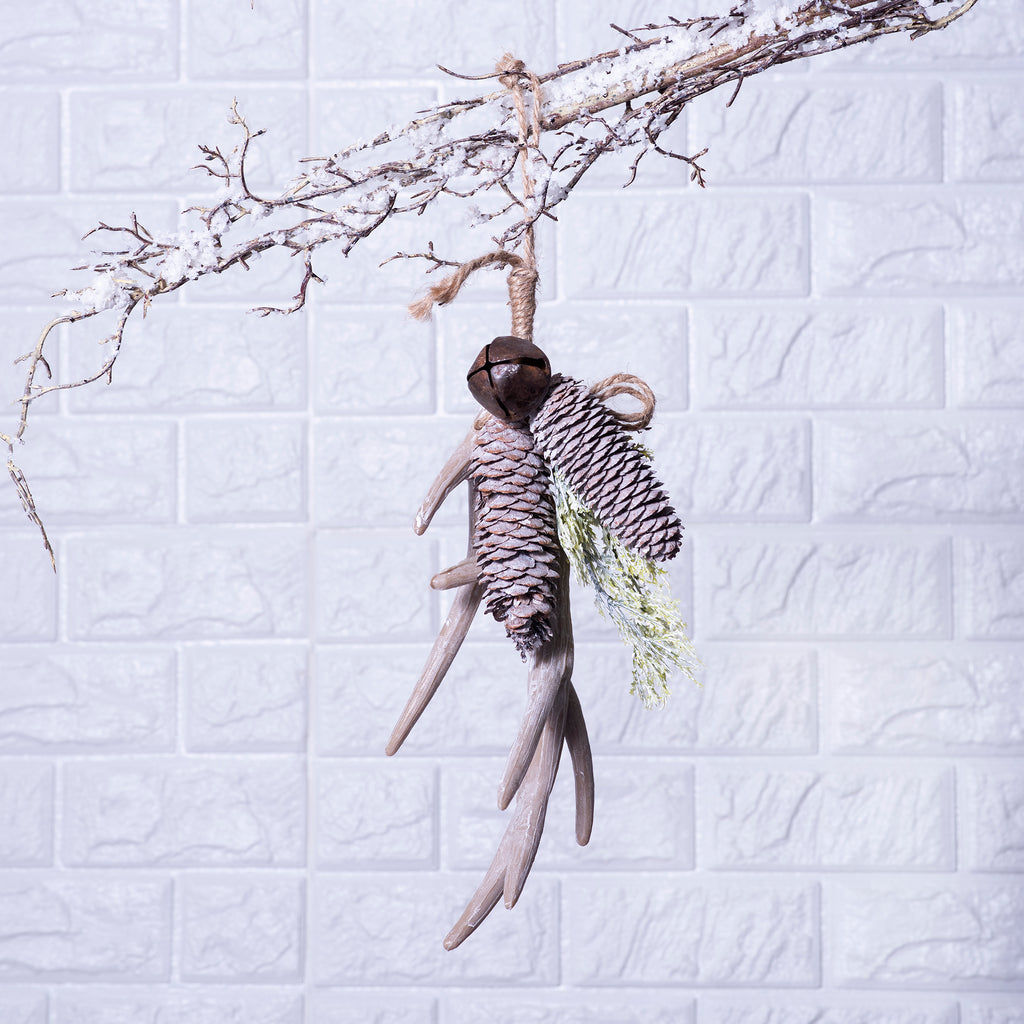 Hanging Faux Antler, Bell & Pinecone Christmas Ornament