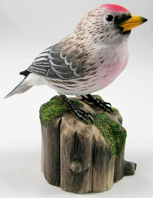 Hoary Redpoll - Hand Carved Wooden Bird