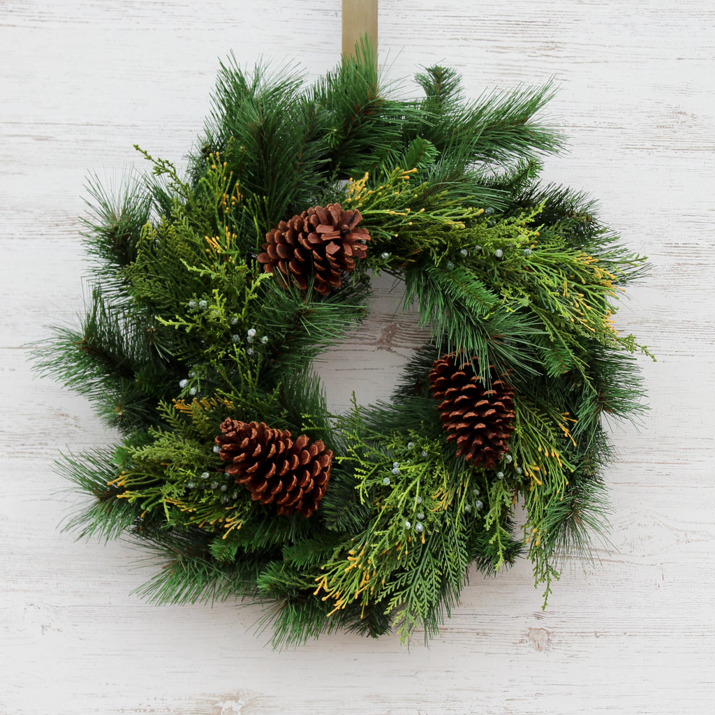 Classic Holiday Greens & Pinecone Front Door Christmas Wreath with Bow Option