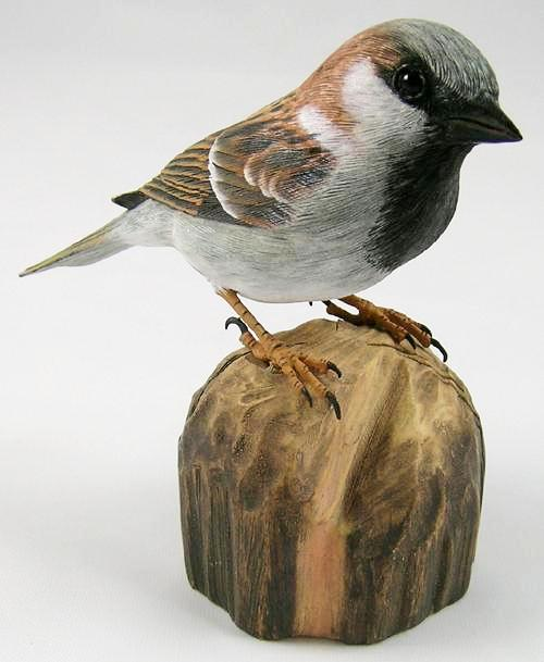 House Sparrow - Hand Carved Wooden Bird