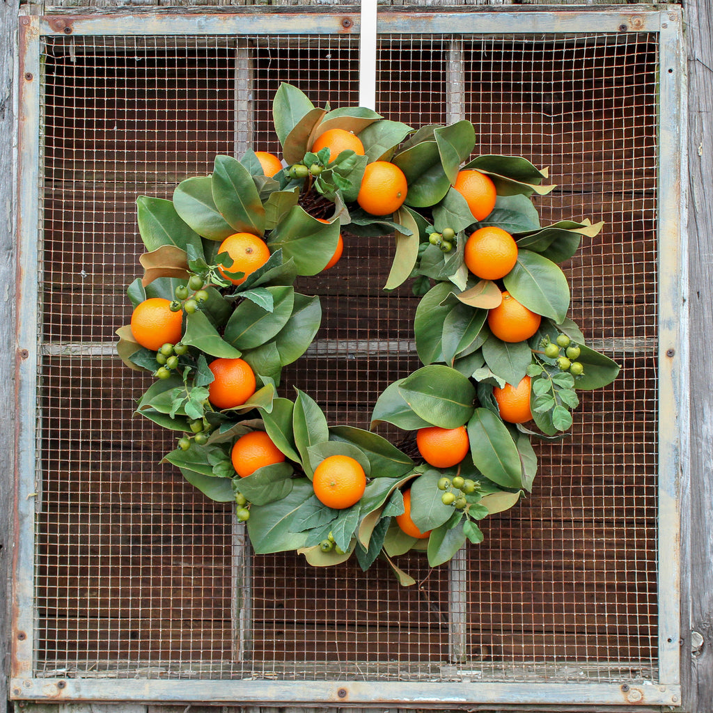Citrus Orange Real Touch Magnolia Leaf Everyday Decor Spring Wreath