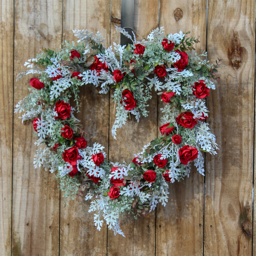Winter's Romance Red Rose & Dusty Miller Heart Valentine Wreath