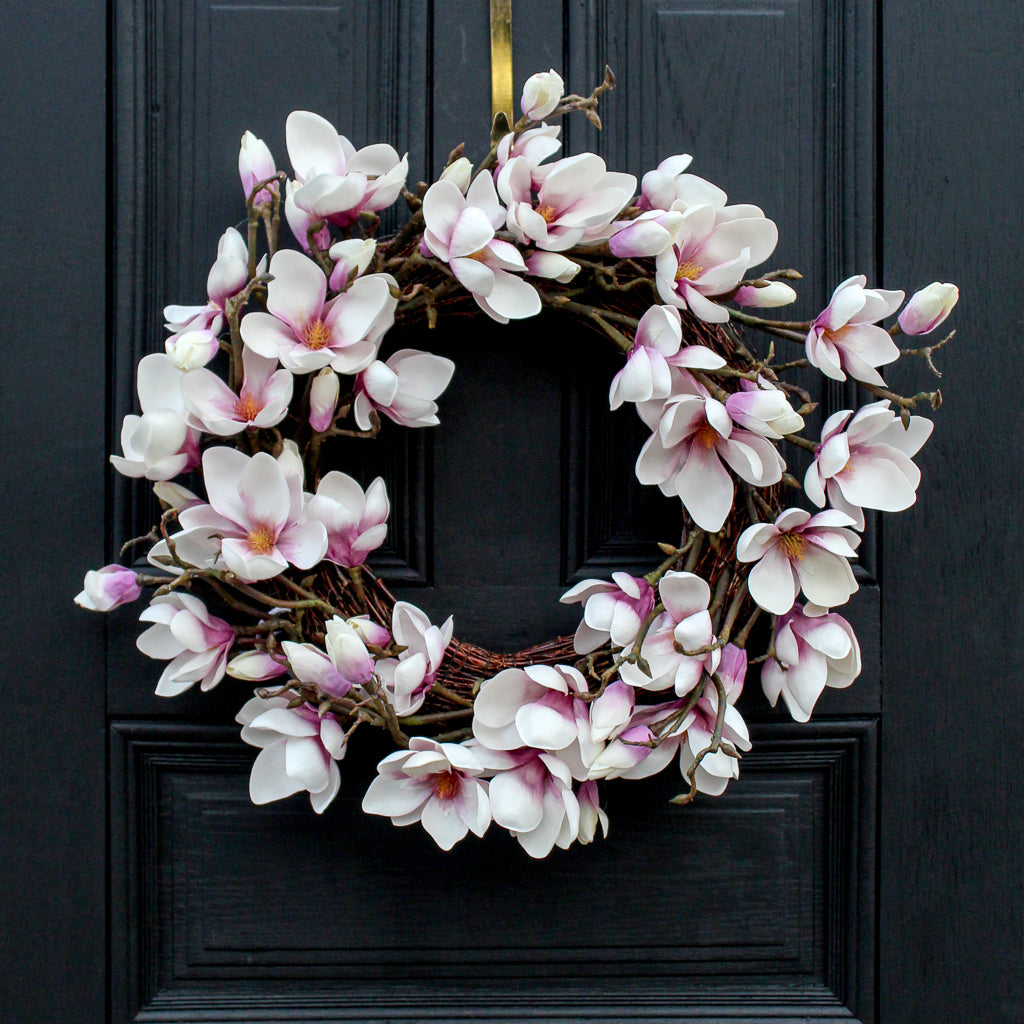 Real Touch Japanese Lavender Magnolia Flower Everyday Spring Wreath