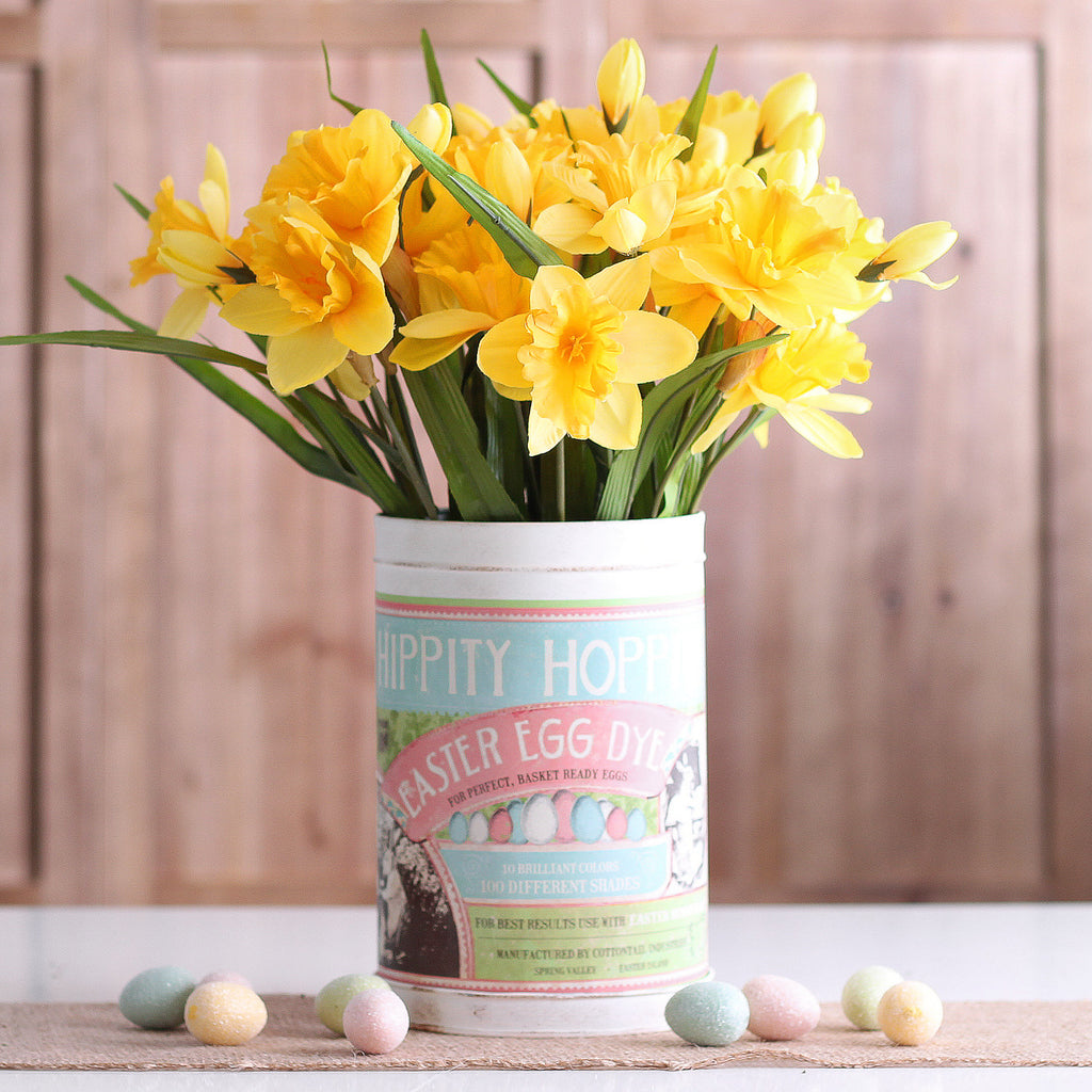 Trio Set of Three Nesting Retro Easter Bunny Tin Arrangements with Spring Daffodils