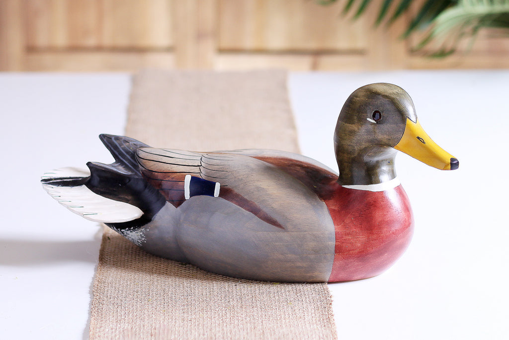 Hand Carved Mallard Drake & Hen Set Full Size Premier Wooden Decorative Duck Decoy