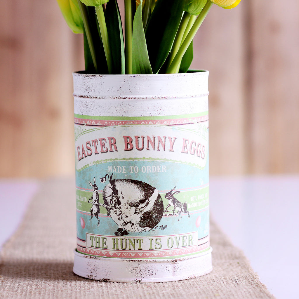 Small Nesting Retro Easter Bunny Tin Arrangement with Spring Yellow Daffodils